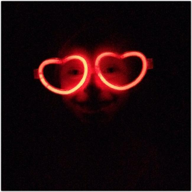 lunettes phosphorescentes en forme de cœur