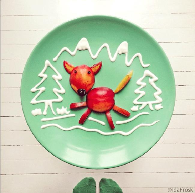 Composition d'assiette qui présente un animal dans une forêt