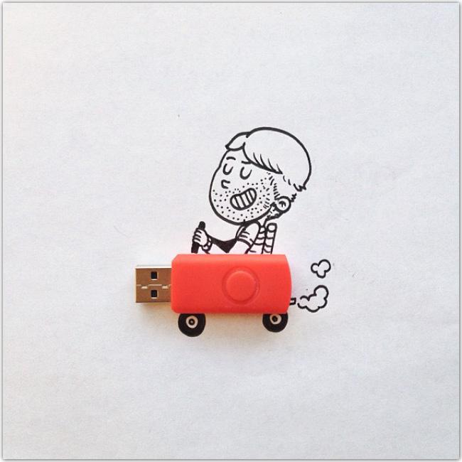 Illustration d'un personnage qui conduit une clé USB