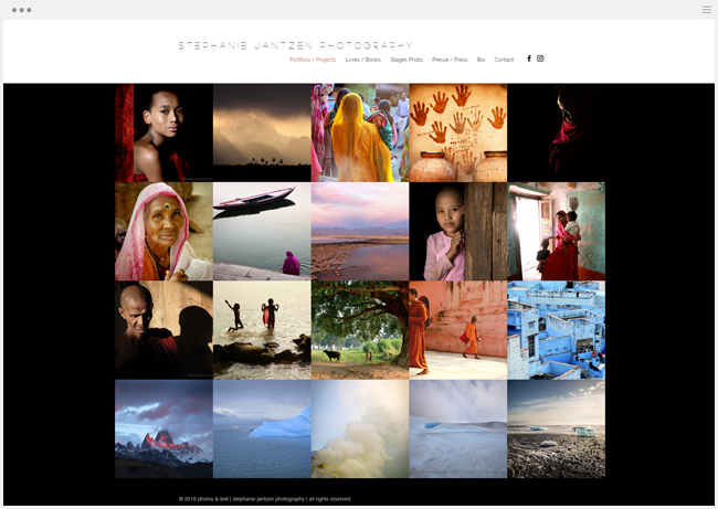 site photographie stephanie jantzen créé avec Wix