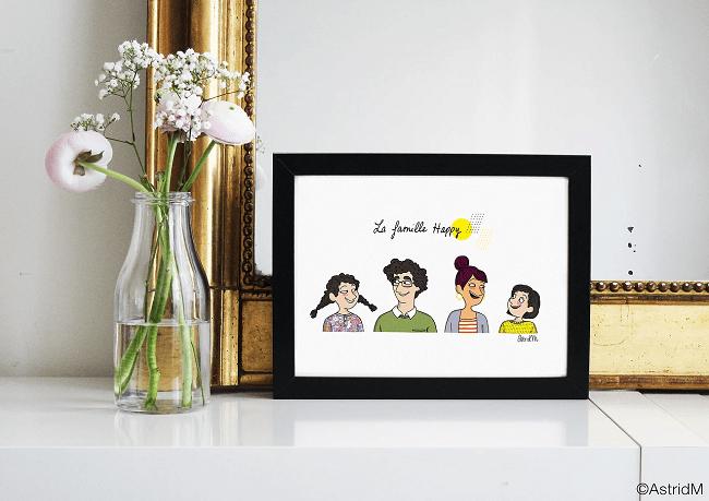 portrait de famille dessiné