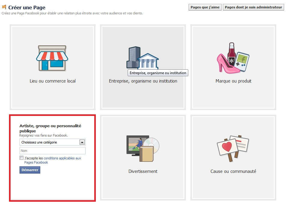 Créer une page pour ses fans sur Facebook: Deuxième étape