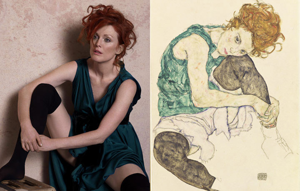 Julianne Moore by Peter Lindbergh as Seated Woman With Bent Knee by Egon Schiele for Harper's Bazaar