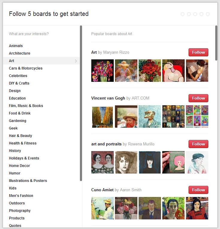 Sélectionnez 5 tableaux que vous désirez suivre sur Pinterest