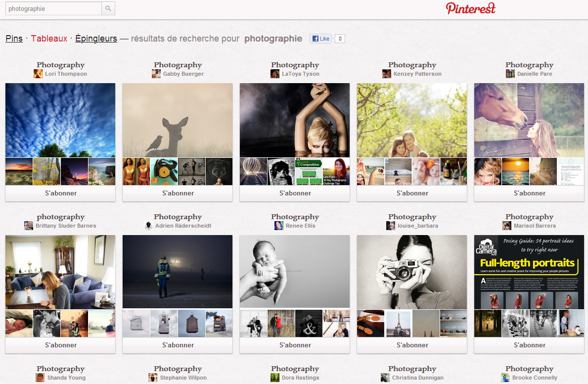 Les différentes options de recherche Pinterest