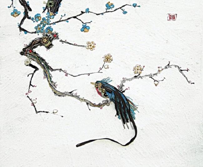 Motif japonnais composé de composants informatiques