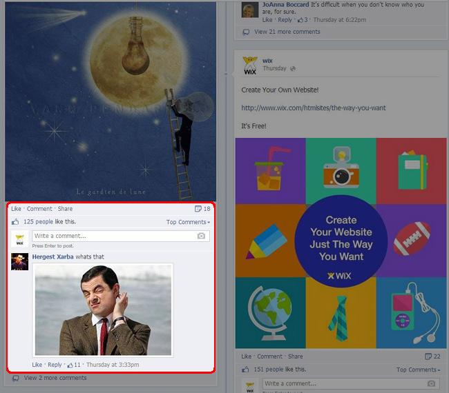 Exemple de commentaire avec une photo de Mister Bean