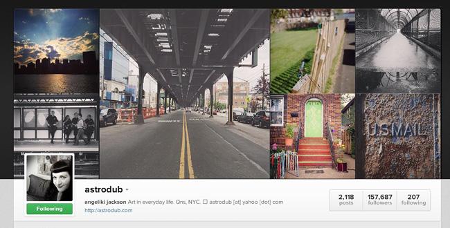 Compte Instagram d' Angeliki Jackson : créatrice média