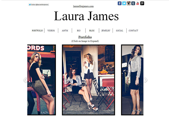 Site Wix de Laura James, Top model