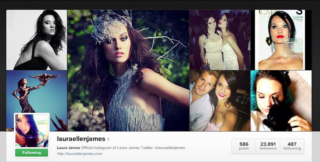 Compte Instagram de Laura James, Top model