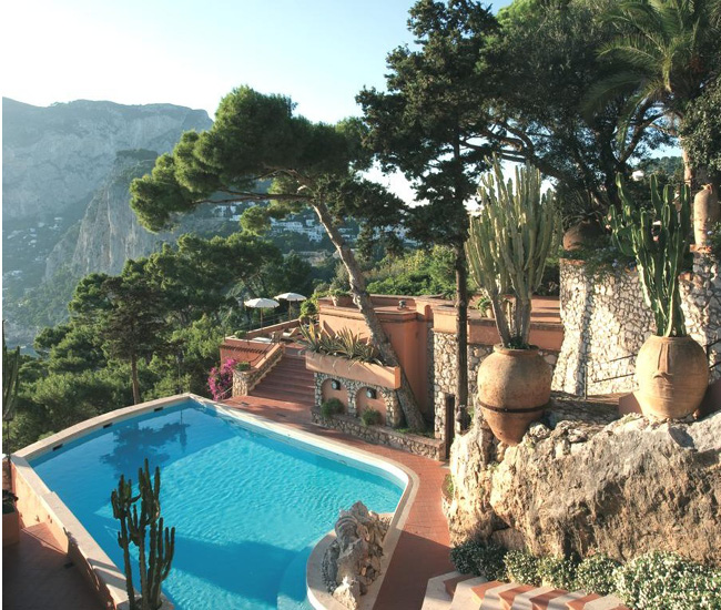 Piscine de l'hôtel Punta Tragara, Capri, Italie