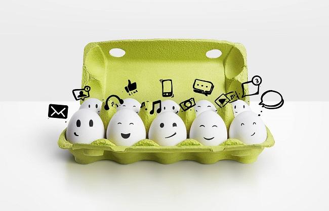 Boite d'œufs aux visages dessinés