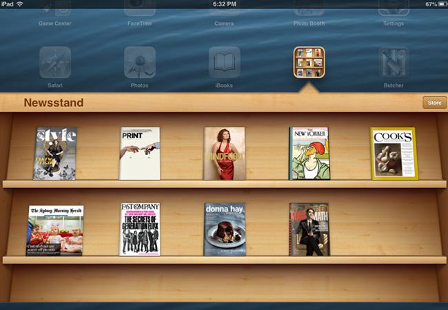 exemple de skeuomorphisme avec le kiosque sur iPad
