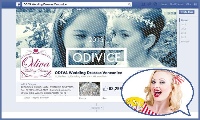 Capture d'écran de la page Facebook  d'une entreprise de robes de mariée