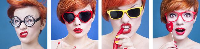 Fille rousse avec des lunettes qui prends différentes poses