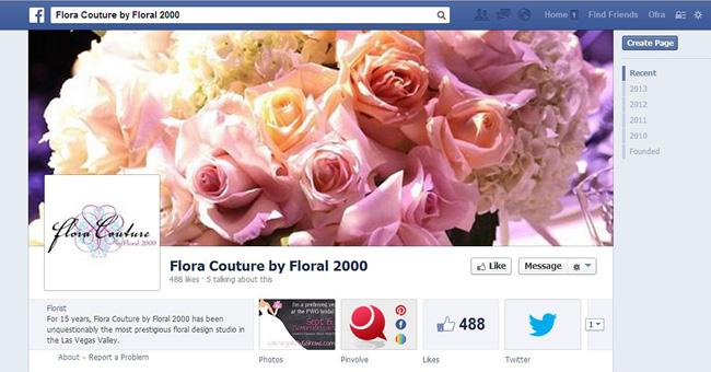 Page Facebook de Flora Couture