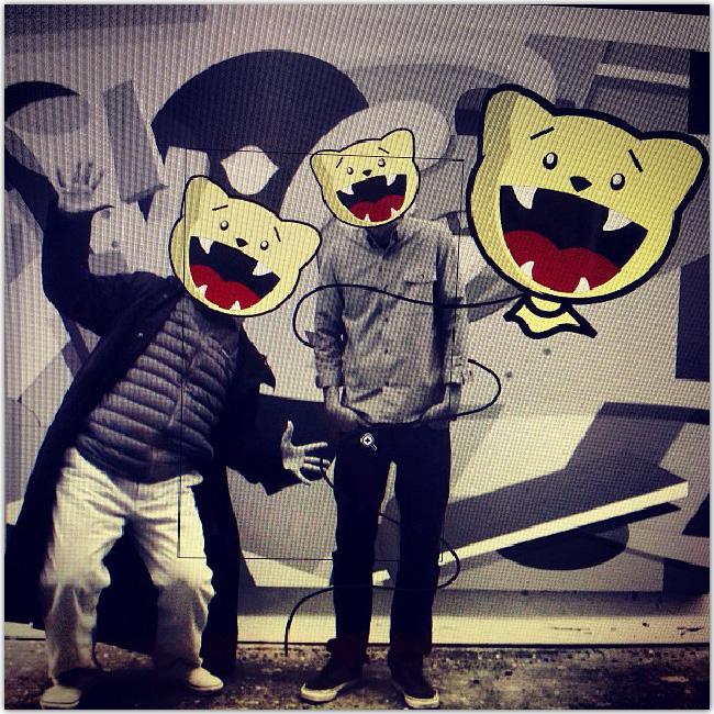 art de rue: bonshommes avec tête de nounours