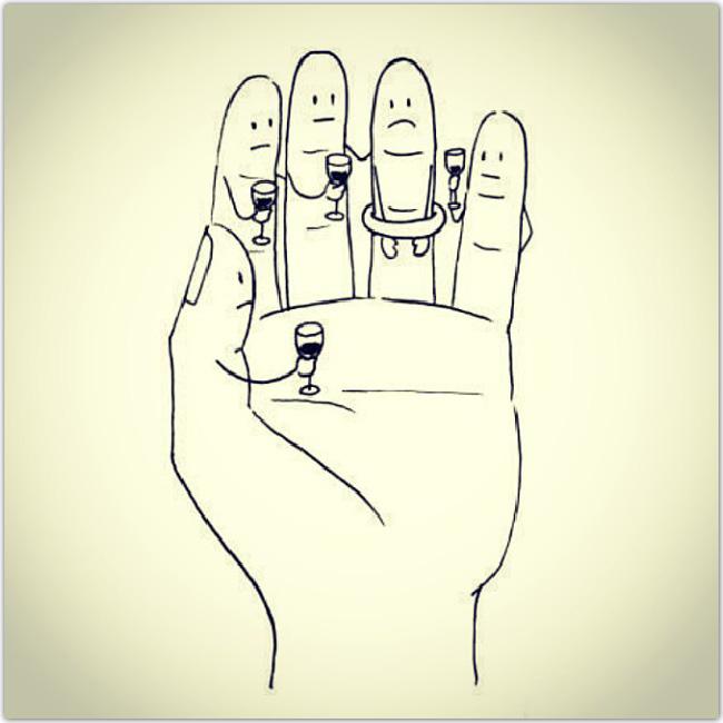 dessein de main avec un doigt qui porte une bague