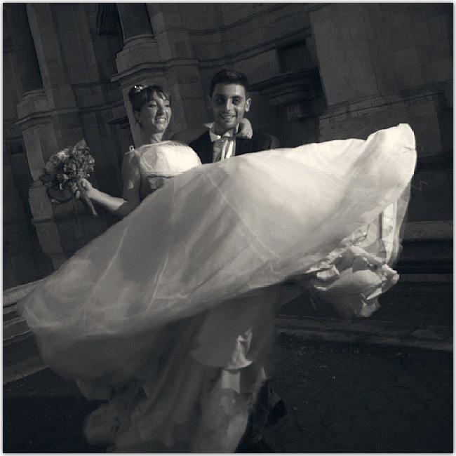 Photo de mariés en noir et blanc