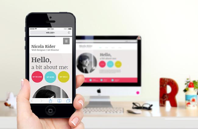 Site mobile sur un smartphone