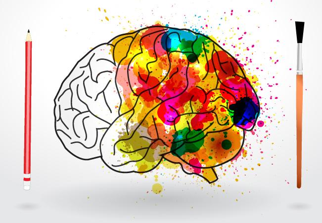 Dessin de cerveau coloré