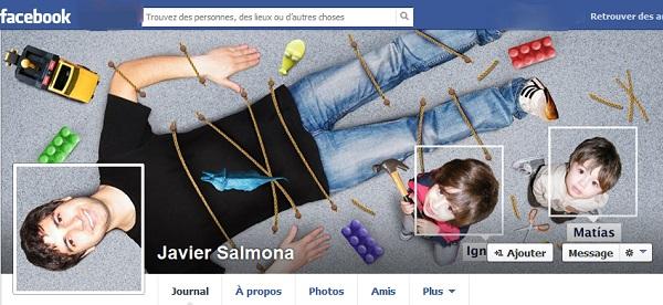 Photo de couverture Facebook d'une personne qui s'est faite attacher au sol par ses enfants