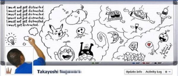 Photo de couverture Facebook d'une personne qui dessine sur un tableau