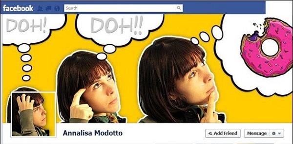 Photo de couverture Facebook qui présente une fille qui pense à un donnuts