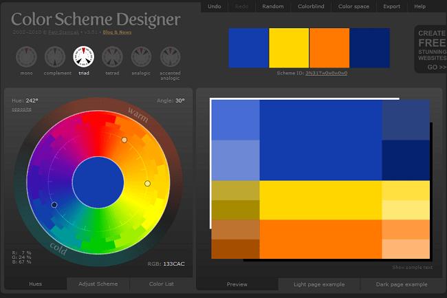 Capture d'écran de l'outil en ligne Color Scheme Designer