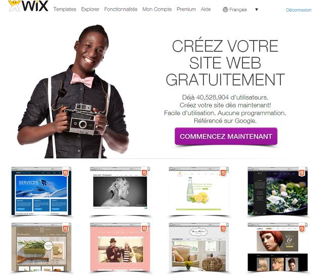 Capture d'écran de Wix.com