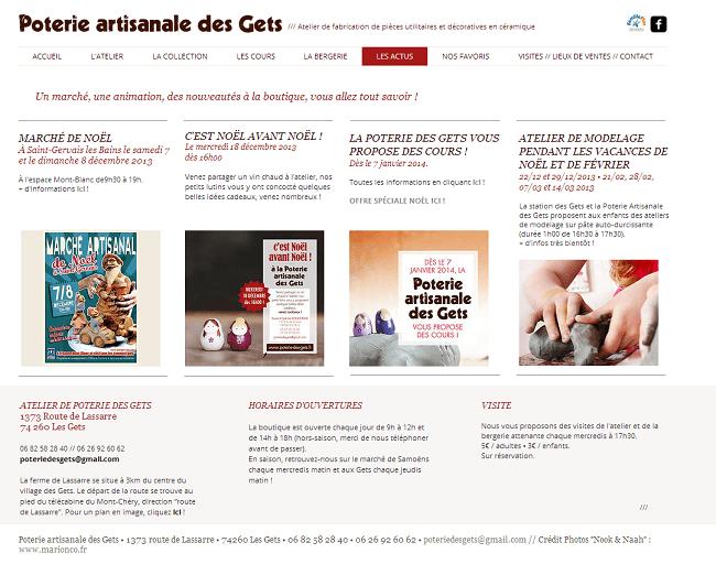 Capture d'écran de la page actu du site poterie artisanale des gets