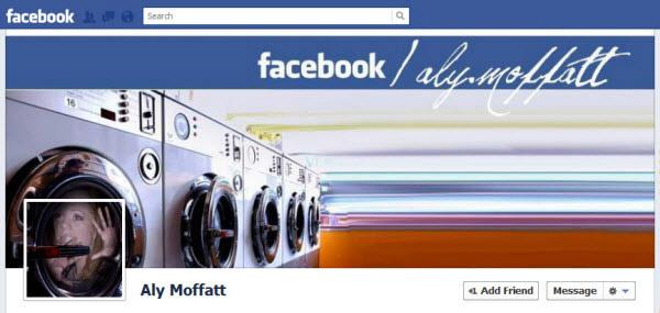 Photo de couverture Facebook qui montre une femme coincée dans un machine à laver