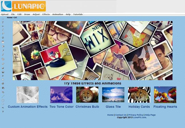 Capture d'écran de l'éditeur LunaPic