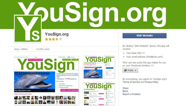 Capture d'écran de l'application YouSign.org