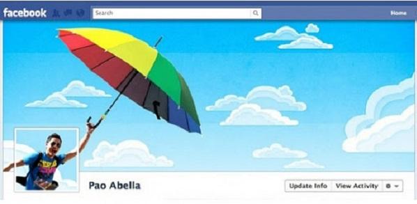 Photo de couverture Facebook d'une personne qui s'envole avec un parapluie multicolore