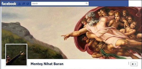 Photo de couverture Facebook d'une personne qui tend le doigt vers celui de dieu (la création d'Adam)