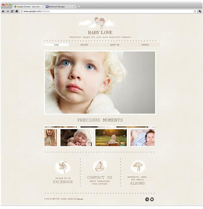 Capture d'écran du template Baby Photography
