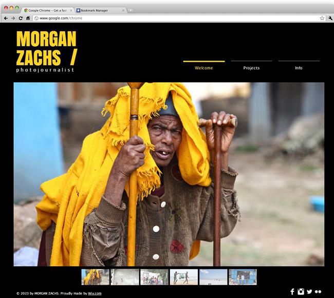 Capture d'écran du template Photojournalist