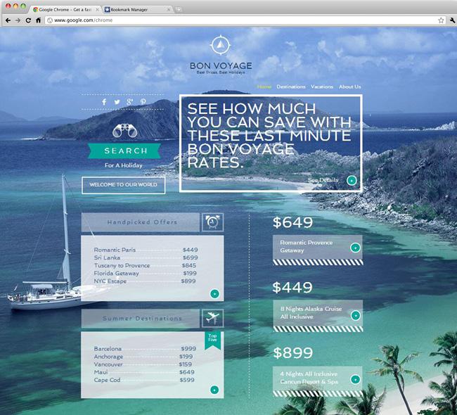Capture d'écran du template Travel Agency