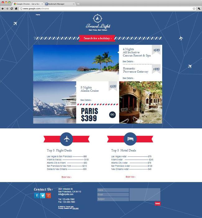 Capture d'écran du template Travel Deals Landing Page
