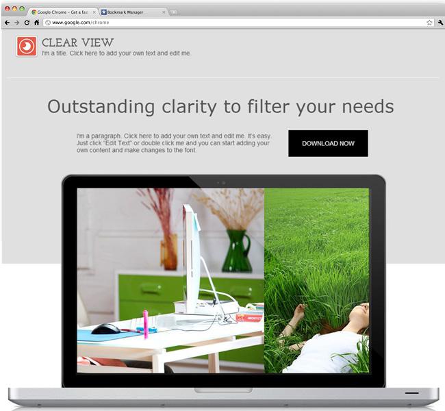 Capture d'écran du template New Software Landing Page