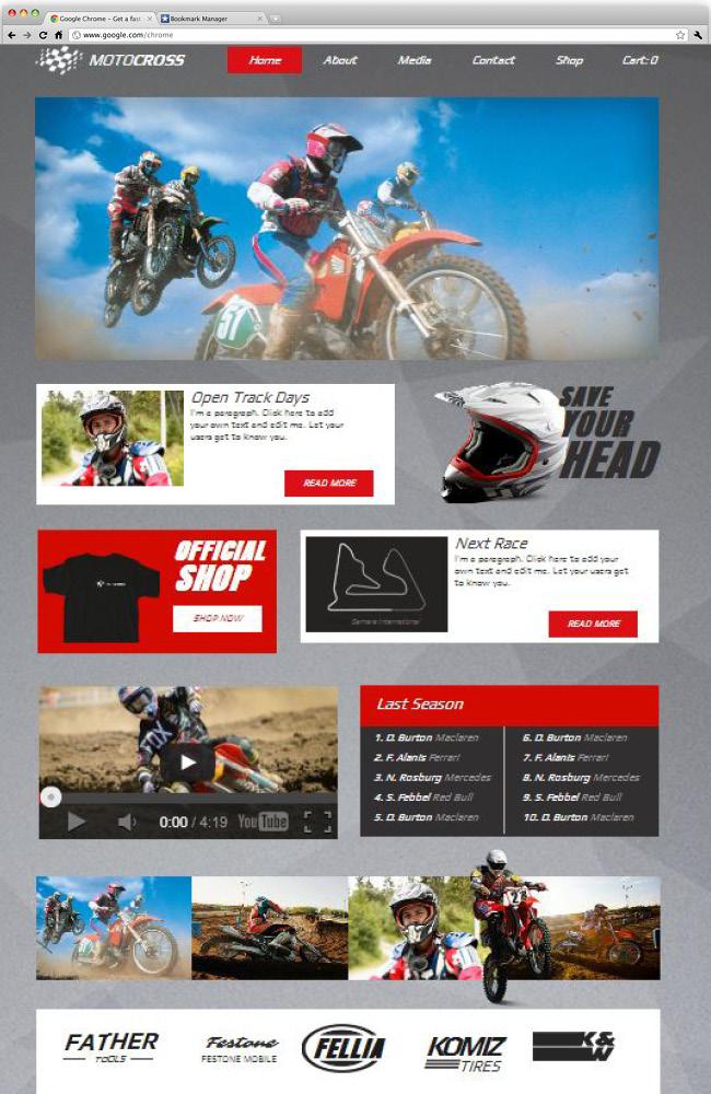 Capture d'écran du template Motocross