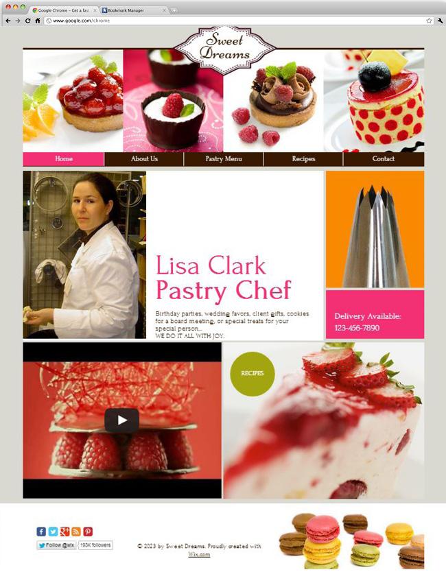 Capture d'écran du template Pastry Chef