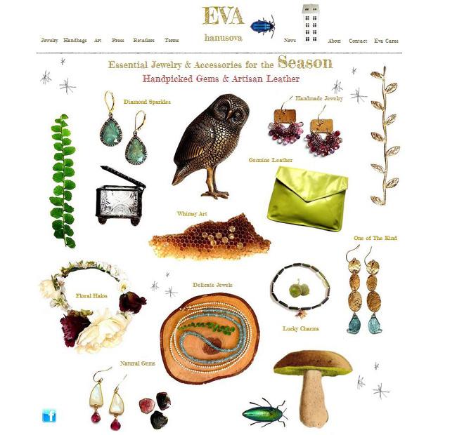 Page d'accueil du site Eva Hanusova