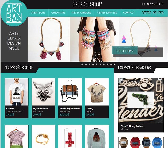 Capture d'écran de la page d'accueil du site Art Bay