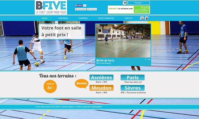 Capture d'écran du site de location de salle de foot - B-five