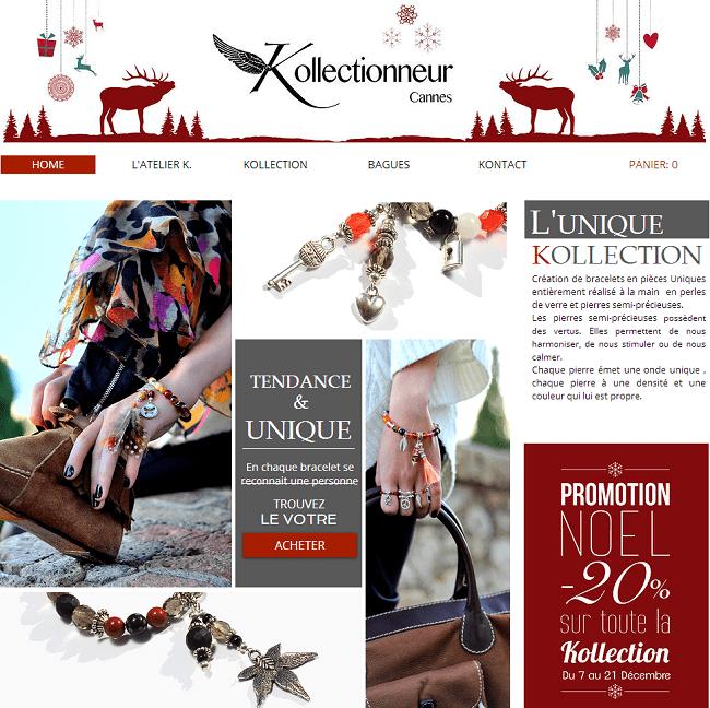 Capture d'écran du site de bijoux faits main Kollectionneur