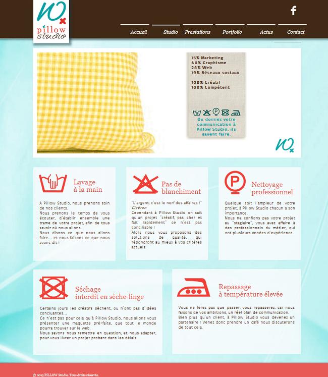 Site de Pillow studio - Agence de communication