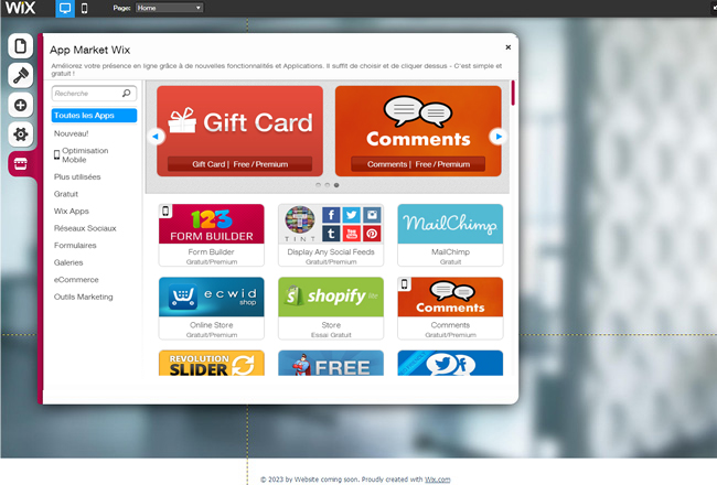 Capture d'écran du App Market dans l'éditeur