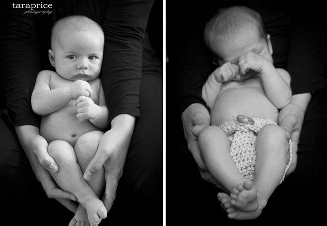 Bébé dans les mains de ses parents - noir et blanc